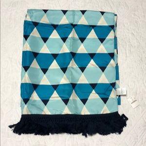 J Crew Blue & Cream Silk Tassel Scarf NWT